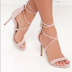 Lulu's Dusty Rose lace up heels